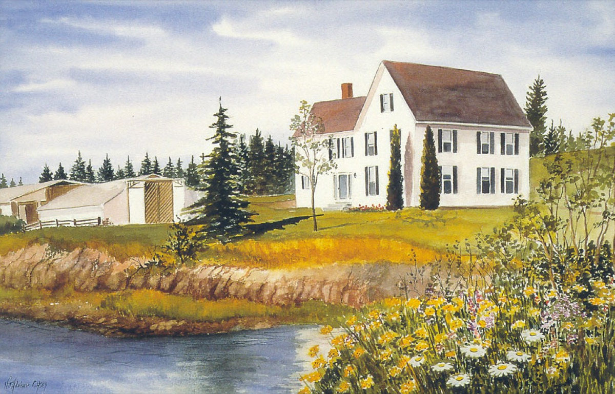 Painting of the Farmhouse at Tide Mill Farm